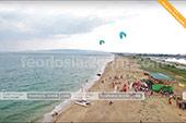 Вид с воздуха на школу виндсерфига Wild Beach в Феодосии - Крым